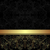Luxury charcoal Background with golden lacy Border. — Stock Vector