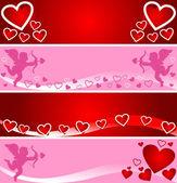 Ljusa banners för alla hjärtans dag. — Stockvektor