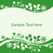 Seasonal Background with floral Borders in shades of green. — Stock Vector