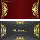 Elegant invitation Cards with golden royal Elements. — Stock Vector