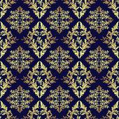 Luxury seamless ornamental Wallpaper: gold on dark blue. — Stock Vector