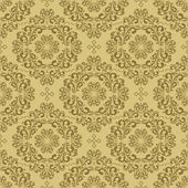 Seamless damask beige Wallpaper. — Stock Vector