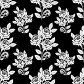 Seamless Pattern with white Roses on the black Background. — Stock Vector