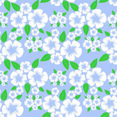Flower seamless Pattern with white Flowers on blue. — Stock Vector