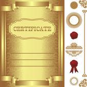 Złoty certyfikat szablon z dodatkowych elementów. — Wektor stockowy