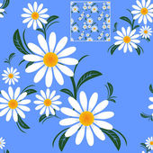 Flower seamless Pattern with Camomiles on blue. — Stockvector