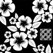 White flower seamless Pattern on black. — Stockvector