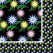 Flower seamless Pattern with colorful flowers on black. — Vector de stock