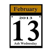 2013 ash wednesday date icon — Stock Photo