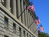 Trio van Amerikaanse vlaggen — Stockfoto