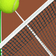 Ball over tennis net — Stock Photo