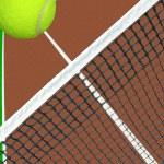Ball over tennis net — Stock Photo