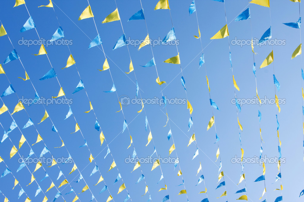 Triangle shaped pennants used for decoartion in festival and special events.  Stock Photo #12080288