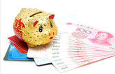Piggy bank and passbook — Stock Photo
