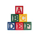 Wooden alphabet cubes with ABC letters — ストック写真
