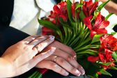 Wedding rings in the arms of lovers — Stock Photo