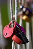 Locks hanging on the railing — Stock Photo