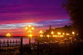 Street lights at sunset — Stock Photo
