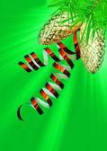 在绿色背景上的圣诞装饰品 — 图库照片