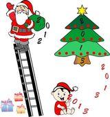 рождество - новый год фон с изображения санта — Cтоковый вектор
