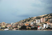 Looking to the city of Saranda on the coast of the Ionian Sea, Albania — Stock Photo