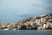 Looking to the city of Saranda on the coast of the Ionian Sea, Albania — Stock Photo
