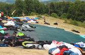 Paragliding equipment ready to use and placed on the start — Stock Photo