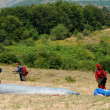 Preparation for enjoyment Paragliding in Macedonia — Stock Photo