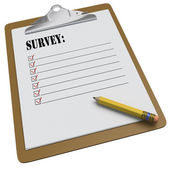 Clipboard with SURVEY message and checkboxes — Stock Photo