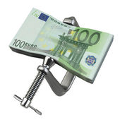 Clamp squeezing Euro currency — Stock Photo
