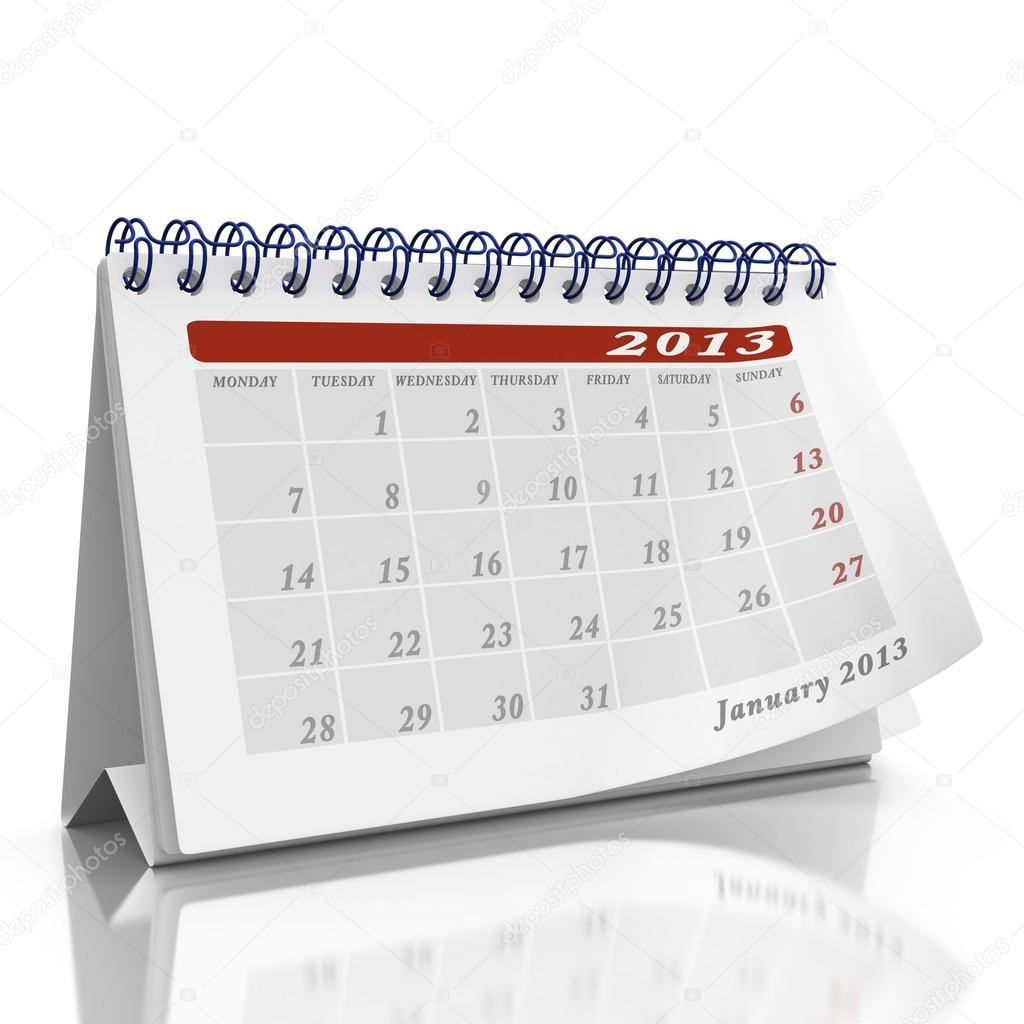 Heartlake Times January 2013: Desktop Calendar With Month January 2013