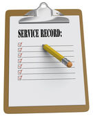 Clipboard with Service Record message and checkboxes — Stock Photo