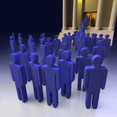 Queues in public place as a bank — Stock Photo