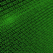 Binary zeros and ones on green background — Stock Photo
