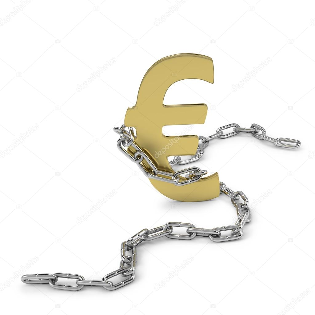 Euro currency in chains as economic mismanagement — Lizenzfreies Foto #12567129