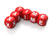Red cubes reading TAX TIME — Foto Stock