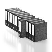 Ordered row of folders with outstanding example — Stock Photo