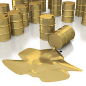 Many golden oil barrels with pool of oil — Stock Photo