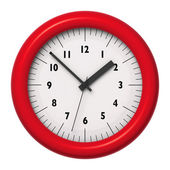 Red office wall clock on white background — Stock Photo