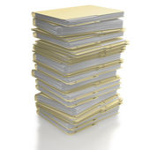 Stack of folders on white background — Stock Photo