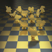 Oil producing nations on chessboard background — Stock Photo