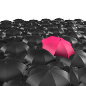Background of umbrellas with a single Red umbrella — Stock Photo