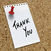 Lined notepaper with thank you note — Stock Photo