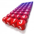 Next decade as text on blocks or dice - Stock Photo