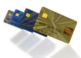 Inclined credit cards composition — Stock Photo