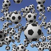 Grunge arka plan oluşturan mavi gökyüzü karşı birçok futbol topları — Stok fotoğraf