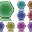 Set of 9 aqua buttons with light reflection - Stock Photo