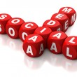 Social media written on red blocks - Stock Photo