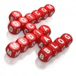 Dotcom, Social Media, and Blog as concepts on red blocks - Stock Photo