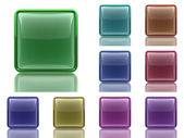 Set of 9 aqua buttons with light reflection — Stock Photo